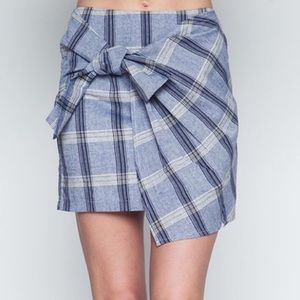 Love Riche Blue Plaid Asymmetrical Wrap Mini Skirt